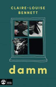Bokomslag med ett tecknat fönster mot en värld utanför - foto på ett rådjur, en kvinna, näckrosdamm.
