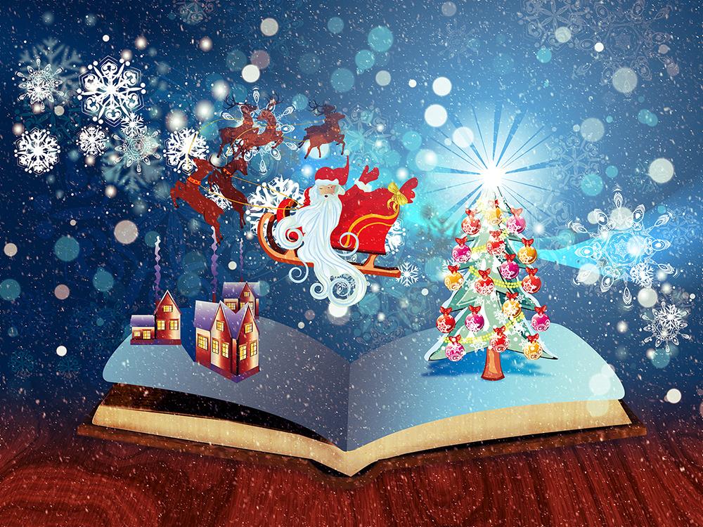 Illustration av en magisk bok som är öppen men juldekorationer och en svävande tomte i släde