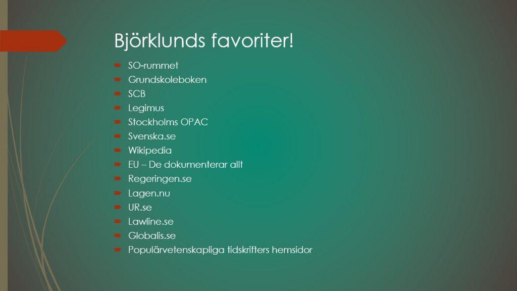 Bild med lista på Daniel Björklunds favoritresurser