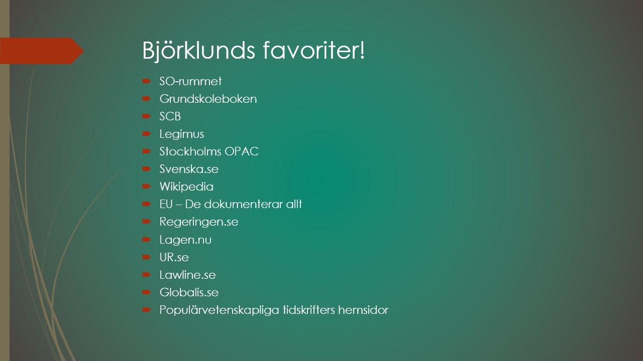 Daniel Björklunds resursfavoriter